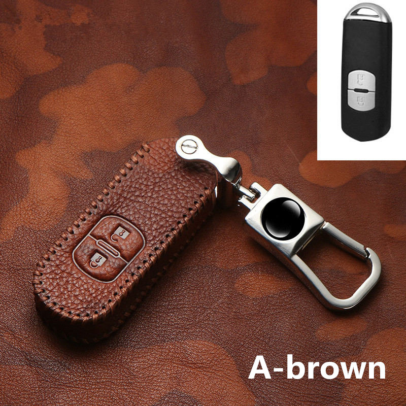 <font><b>2019</b></font> Retro Genuine Leather Car Key Cover Case For <font><b>Mazda</b></font> 2 3 6 Axela Atenza <font><b>CX</b></font>-5 CX5 <font><b>CX</b></font>-7 <font><b>CX</b></font>-<font><b>9</b></font> 2014 2015 2016 <font><b>2017</b></font> Auto Key shell image