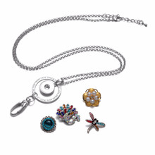 Working Card Lanyard Pendant Necklace 18mm Snap Button Jewelry Fits DIY Snap Jewelry For Employee ID Card Hanger(China)