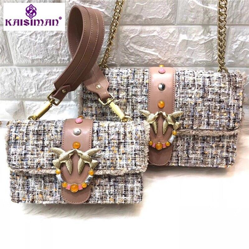 Woolen Bag Female Real Natural Genuine Leather Shoulder Diagonal Swallow Bag Gemstone Knit Chains Crossbody Bag Original Quality