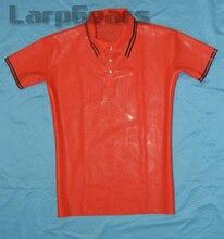 Красная с черным латексом мужская рубашка поло с короткими рукавами латексная резиновая футболка размера плюс XXXL