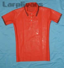 Red with Black Latex Mens Polo Shirt Short Sleeves Latex Rubber Tee Plus Size XXXL