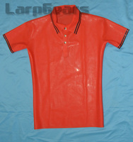 Red with Black Latex Men's Polo Shirt Short Sleeves Latex Rubber Tee Plus Size XXXL