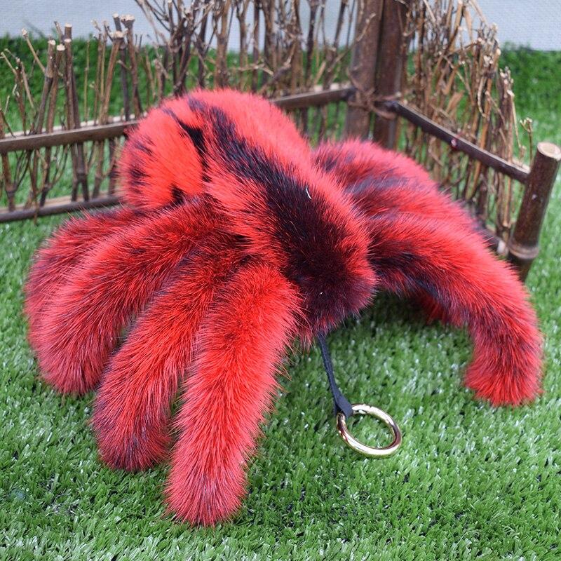 Free shipping 2017 fashion <font><b>imported</b></font> mink fur terror replica <font><b>spider</b></font> women bag car key holder Novelty <font><b>spider</b></font> <font><b>men</b></font> key chain gift