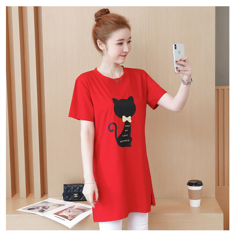 2018 Large size Women T-shirt dress summer Short sleeve Cats print Top Tees Casual O-neck Loose Female Tshirt Plus size 5XL J215 10