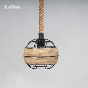 Image 3 - Lámparas colgantes de cuerda para loft lámpara de hierro forjado de estilo americano, lámpara de luz de cuerda, barra de café, comedor, para iluminación del hogar