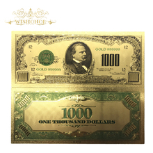10pcs/Lot 1899 Years Colour USA Gold Banknote 1000 Dollar Banknotes Replica Money Bills Plated Business Gift Collection