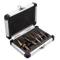 5Pcs HSS Cobalt Multiple Hole 50 Sizes Step Drill Bit Set W Aluminum Case