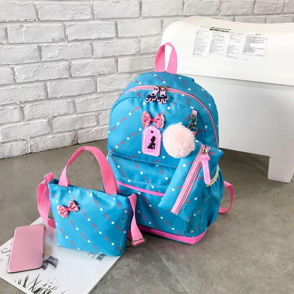 Women Bow Canvas Three-piece School Bag 3
