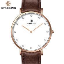 fa56404836b STARKING Pedra Dial Leather Brown Mens Relógios Top Marca de Luxo Ultra  Slim Homens Relógio de