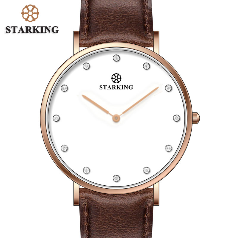 STARKING Brown Leather Mens Watches Top Brand Luxury Stone Dial Ultra Slim Watch Men Quartz Business Watch Waterproof Male Clock men watch top fashion brand male real leather strap large dial waterproof clock business lens watches hot sale