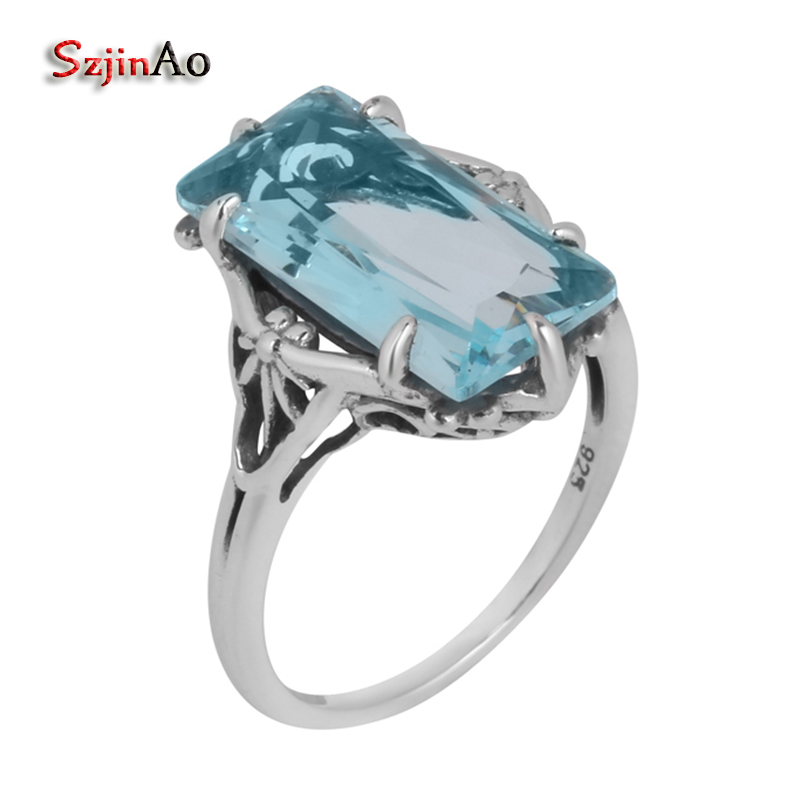 Szjinao 925 Sterling Silver Jewelry Wholesale Gold And Silver 4.5ct Aquamarine Women 100% Pure Silver Ring 2017 Hot
