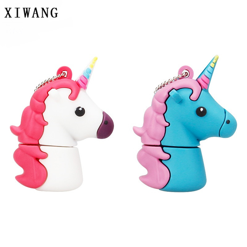 100 True Capacity usb Flash Drive 64gb Unicorn pen drive 16gb usb disk 128gb 8gb 4gb Cute animal pendrive 32gb White Horse Gift in USB Flash Drives from Computer Office