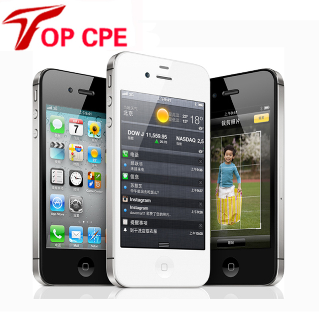 Original Iphone Factory Unlocked Iphone 4S phone 3.5'' 8MP Camera GSM WCDMA WIFI GPS Unlocked Cell phones add glass film as gift