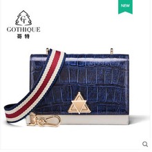 gete 2019 new crocodile leather womens bag real slant cross single-shoulder American alligator belly fashion sm
