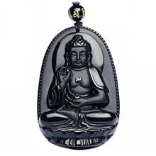 Natural Black Obsidian Stone 3D Bodhisattva Buddha Talisman Pendant Women Men's Amulet Lucky Jades Jewelry Pendants+Free Rope брелок huggy buddha talisman