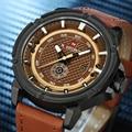 NAVIFORCE hombres Moda Casual Deportes Relojes Hombres Militar A Prueba de agua Reloj de Hombre Correa de Cuero Reloj de Cuarzo relogio masculino