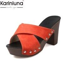 KarinLuna Sexy platform high heels women comfortable shoes summer fashion elegant woman shoes flip flops Mules shoes slippers
