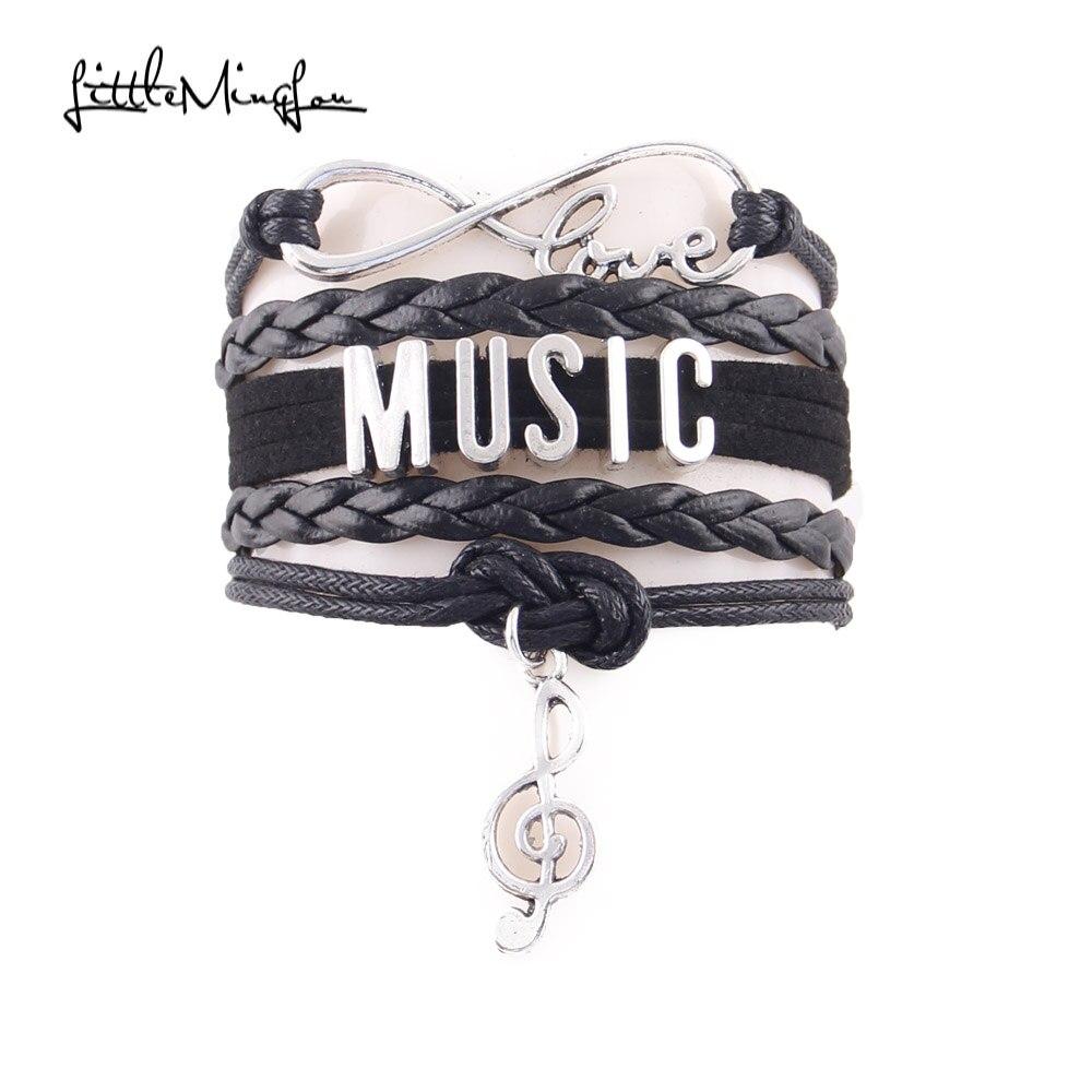Little MingLou Infinity Love music bracelet note charm leather wrap hobby bracelets bangles for women men
