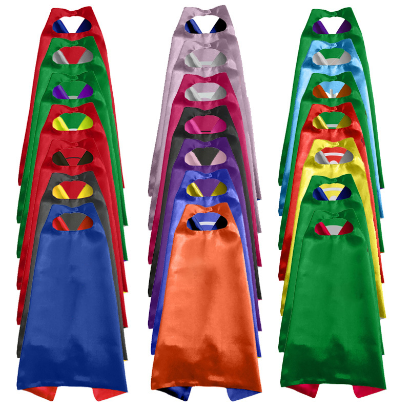Kids Superhero Capes With Felt Mask Plain Satin Solid Capes Boys Girls Birthday Party Favor Anime Cosplay Costume