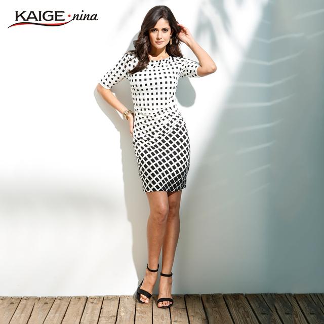 Kaige. nina nueva venta womens verano elegante tartán o cuello de la túnica usar para trabajar negocios casual party lápiz vaina dress 2184
