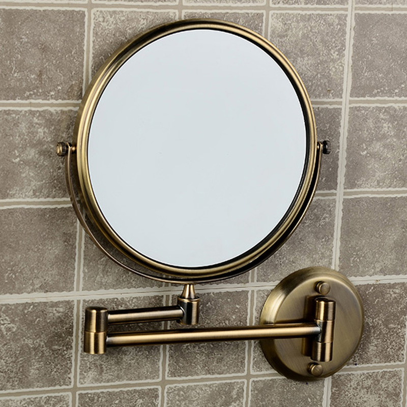 Bath Mirrors 8 Inch Round 2 Face 3 x Magnifying Mirrors of Bathroom Folding Makeup Mirror Brass Bronze Wall Mirror LO74308 bath mirrors 3 x magnifying mirror of bathroom makeup mirror folding shave 8 dual side antique brass wall round mirrors 1506f