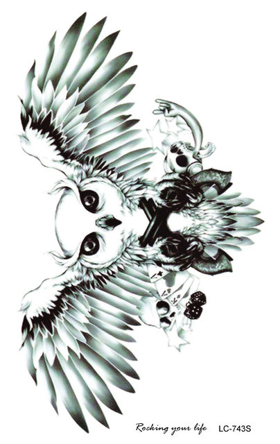 LC2743S 19X12cm Large Tattoo Sticker Halloween Horror Horrible Flying OWL Designs Temporary Tattoo Terrorist Stickers