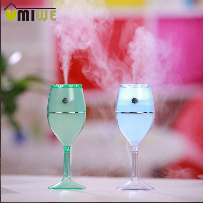 Красный бокал для вина, кружка увлажнитель эфирного масла Diff использовать r USB Красочный ночник лампа мини портативный увлажнитель воздуха для домашнего использования автомобиля