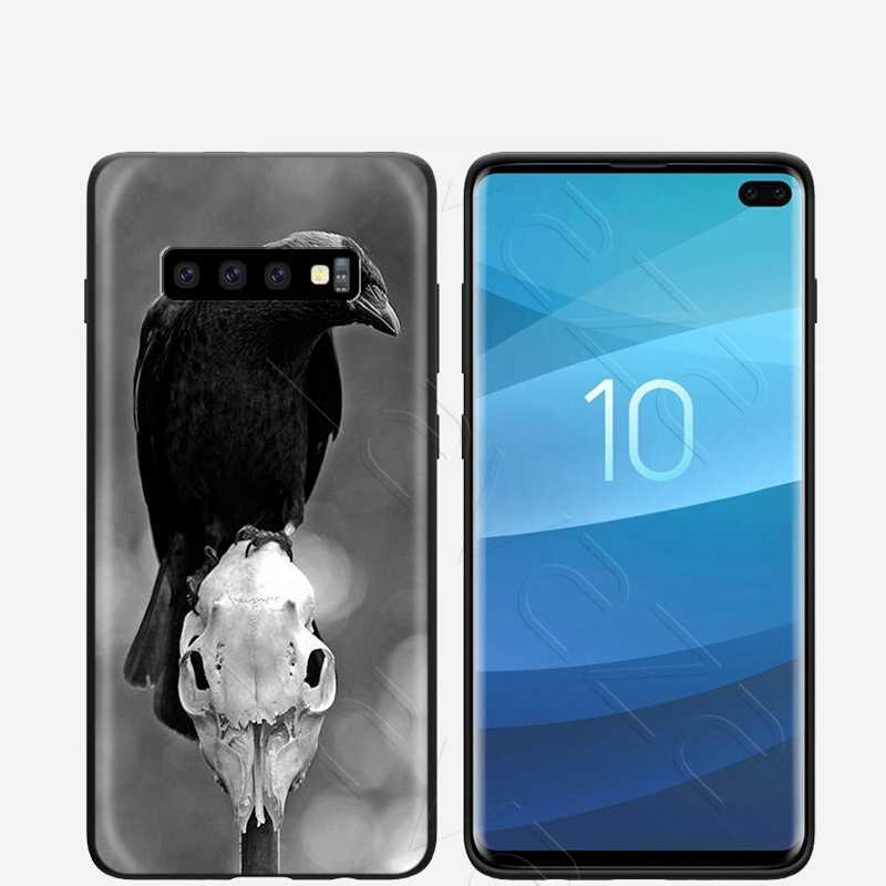 Lavaza Crow Đầu Lâu Raven Ánh Trăng Ốp Lưng Dành Cho Samsung Galaxy Samsung Galaxy S6 S7 Edge J6 S8 S9 S10 Plus A3 A5 A6 a7 A8 A9 Note 8 9