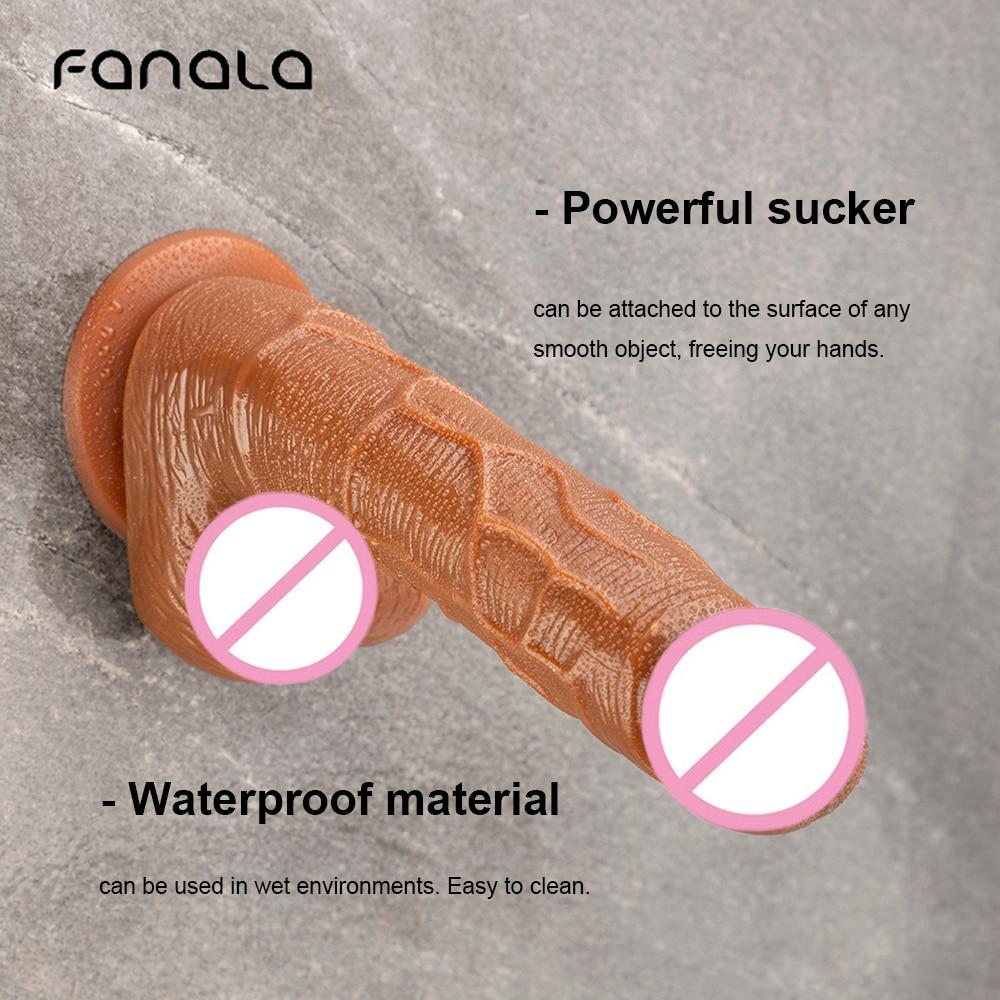 FanaLa Brown Suction Cup Dildo Silicone Non Vibration Women Dildo G-spot Anal Sex Toy Flexible Penis Lesbian Long Soft Butt Plug