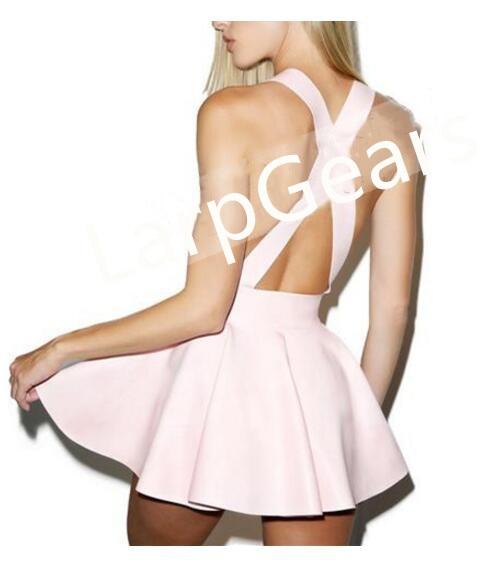 Handmade Baby Pink Latex Skirt Sexy Latex Girls Fancy Dress Pleated Latex Night-Club Dress