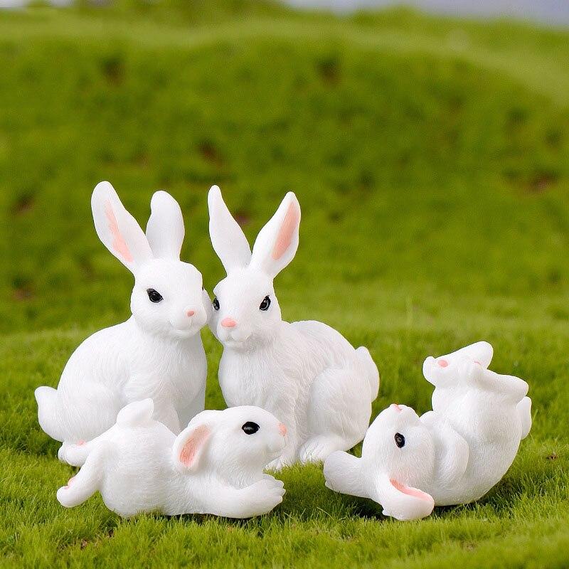 Cute Rabbit PVC Figurines Craft Decorative Ornaments For Bonsai Home Table Decoration Miniature Figurines  Garden Decoration