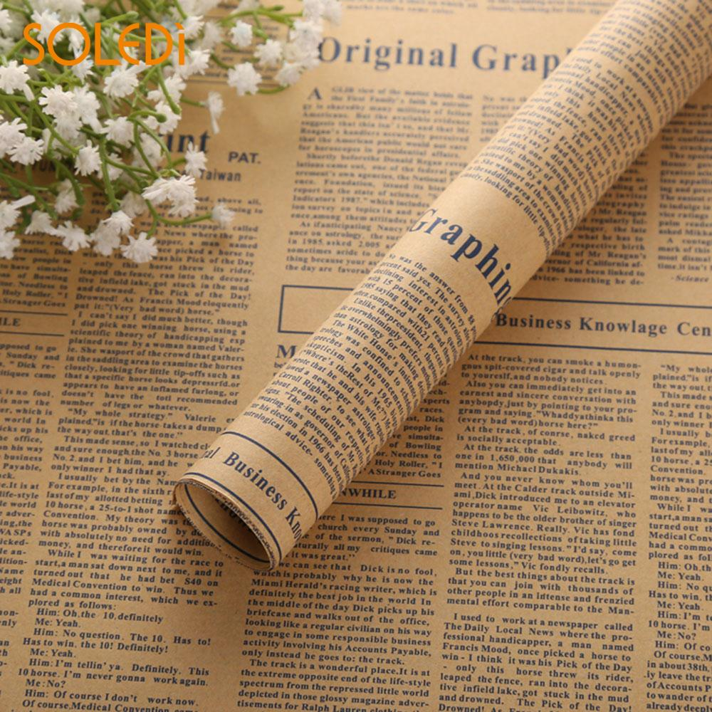 Flower Packaging Paper Wrapping Paper Vintage Newspaper 4 Color Bouquet Decor Festival Gift ...