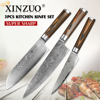 3 unids cuchillos de cocina set 73 capas Japonés VG10 Damasco cuchillo de cocina cocinero cuchillo mango de madera envío gratis
