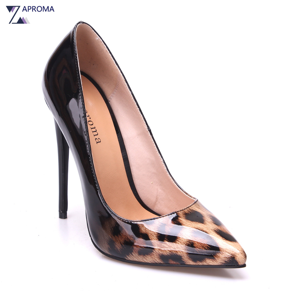 High Fashion Women Pumps Leopard Thin Heel Pointed Toe Black Super High Heel Shoes Leather Slip On 12cm Sexy Spring Summer shoes woman pumps thin high heel 12cm shallow slip on wedding shoes patent leather pointed toe printing fashion sexy size 11 fsj