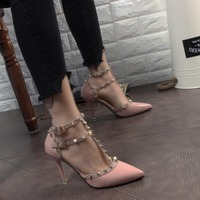 Sexy Spring And Summer Hasp Rivet Heels Female Leather High Heeled Shoes Stiletto Heel 9cm Pointed
