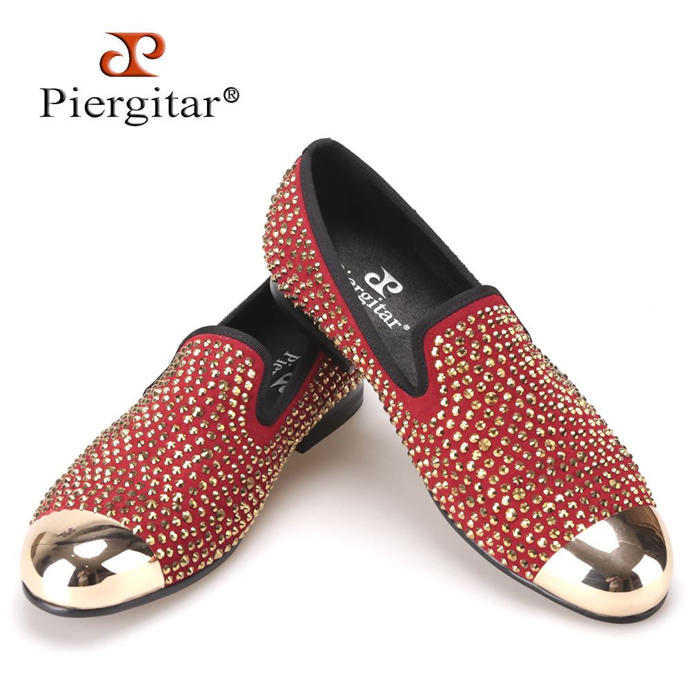 Piergitar Handmade red suede men shoes with gold Rhinestone and gold toe metal Party and Banquet men dress loafers male's flats
