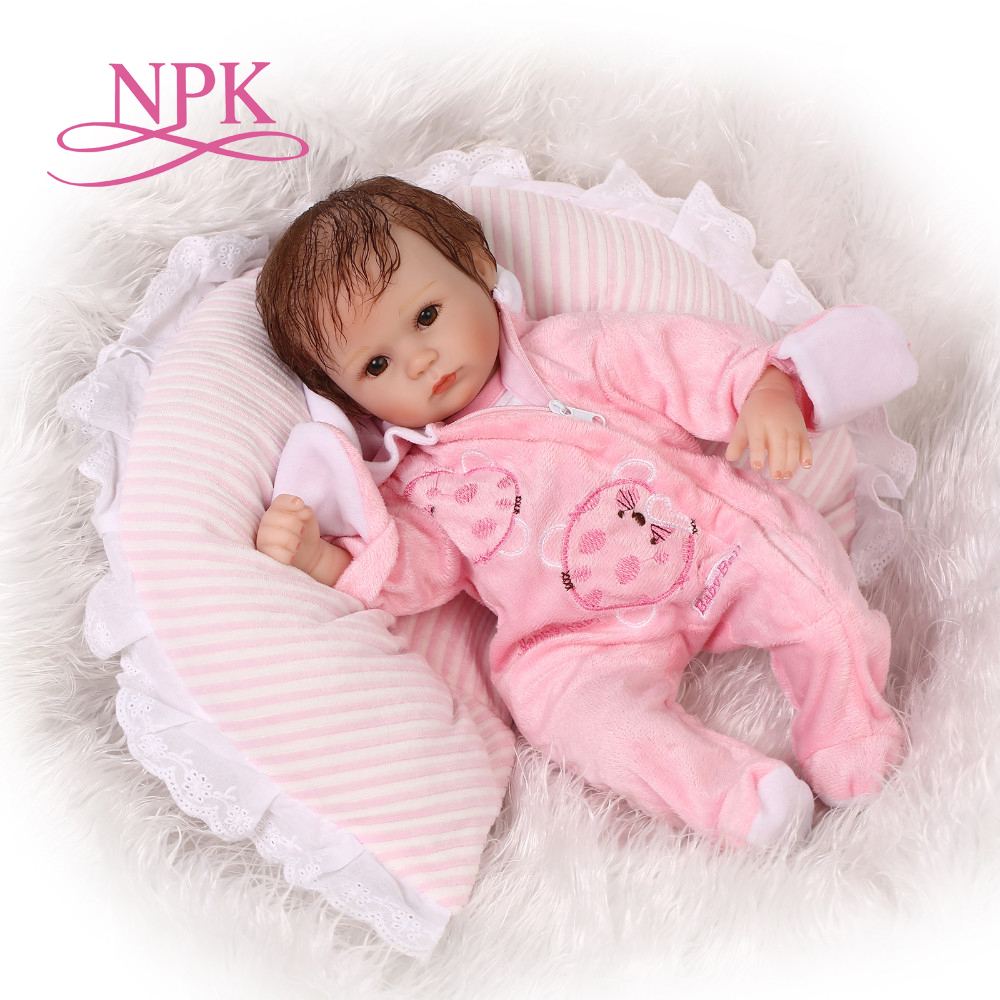 NPK cute reborn baby doll soft silicone real gentle touch doll toy for girls play house toys for kid soft vinyl newborn girl bab