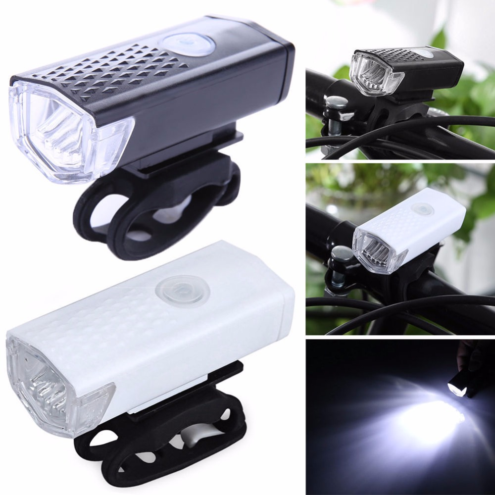 Rechargeable USB 300lm LED Bicycle Bike Flashlight Lamp MTB Front Bicycle Cycling Light Headlight Headlamp Bike Bycicle Light