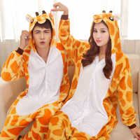 Good Quality 2015 Flannel Giraffe Onesies Pajamas Cartoon Anime Animal Cosplay Costume Pajamas Adult Onesies Sleepwear