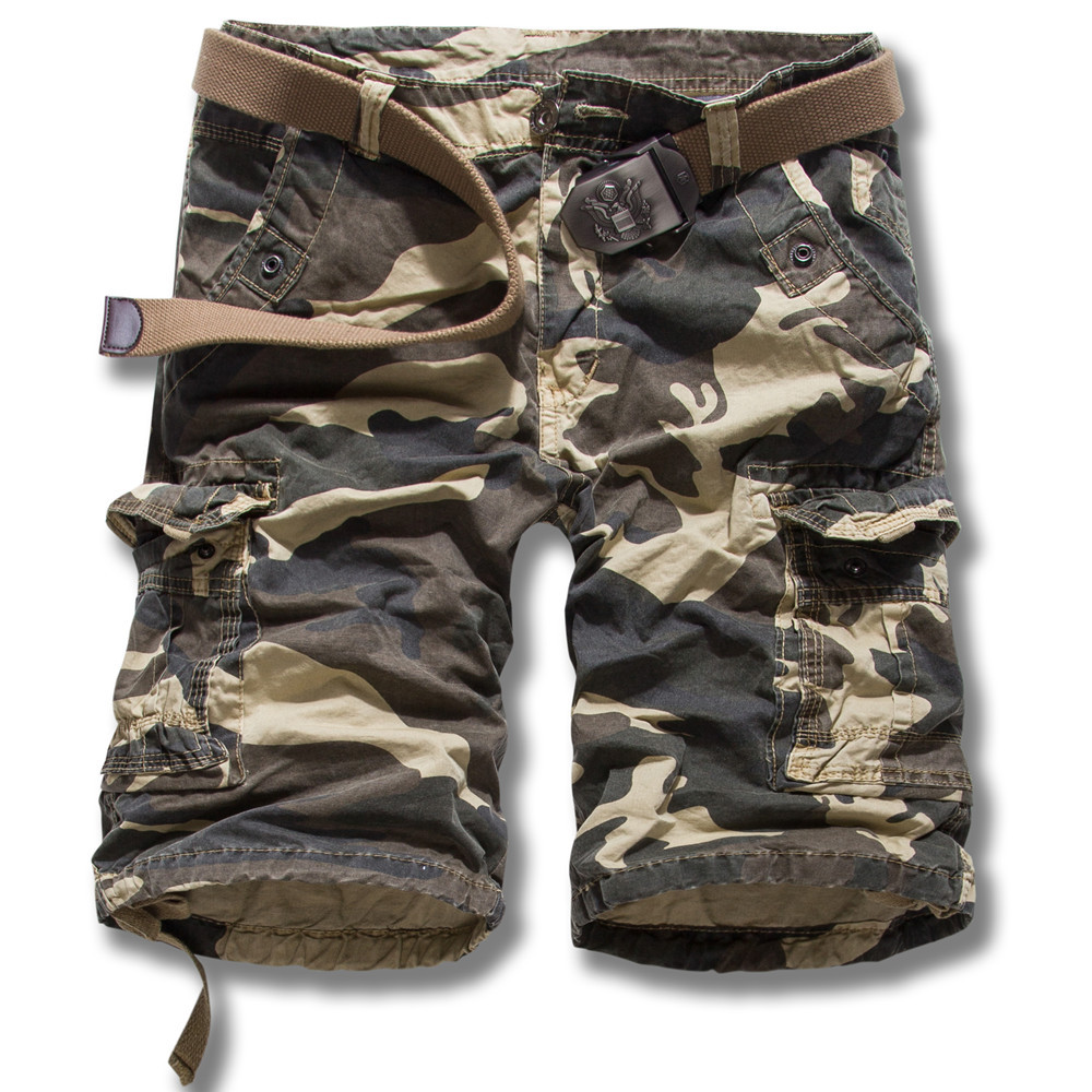 Cargo Shorts Men 2018 New Arrival Mens Loose Camouflage Pants Knee Length Military Trousers Bermuda Masculina Men Clothes 2018