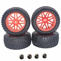 "4 Pieces 94mm Rubber 2.2"" RC Pull Rally Truck Tires & Wheel Rims 12mm Hub Hex For 1/10 HSP HPI Tamiya Redcat Exceed Off Road"