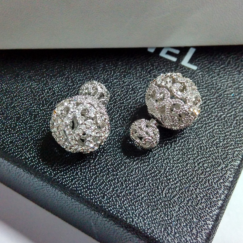 women big double ball stud earring Famous design silver plated pave setting crystal hollow out double
