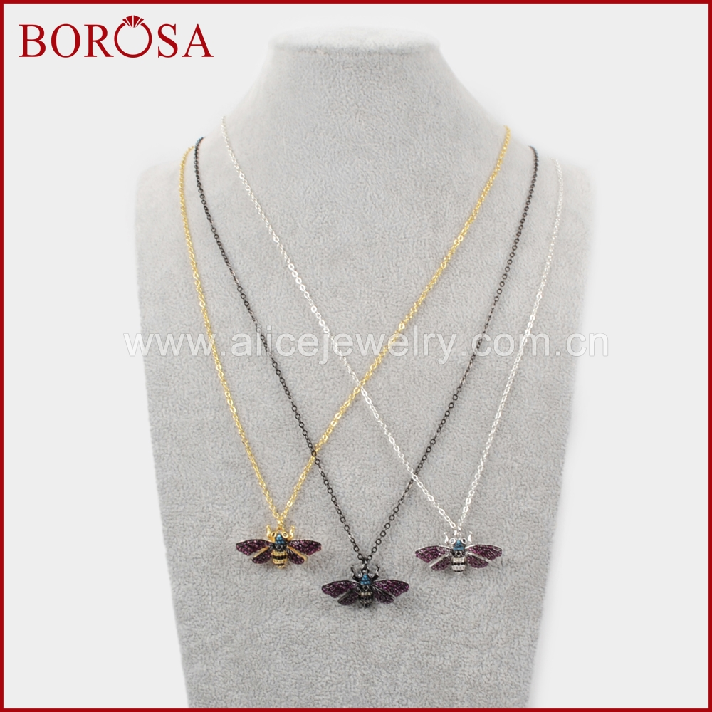 BOROSA Mosquito Insects Bugs Bee Necklace, Zircon Pave CZ Bead Charm Ladybugs Pendant Coloful Necklace Jewelry for Women WX838-N
