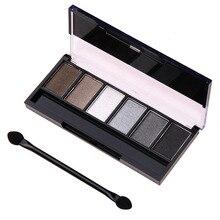 Professional 6 Colors Combination Eyeshadow Palette Glamorous Matte Smokey eye Shadow Makeup Kit With 1pcs Duplex Brush