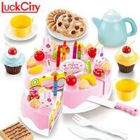54 יחידות מטבח פלסטיק חיתוך עוגת יום הולדת תה לילדים סט משחק מזון העמד פנים שחק צעצועי מתנה חינוכיים מוקדמים תינוק קלאסי