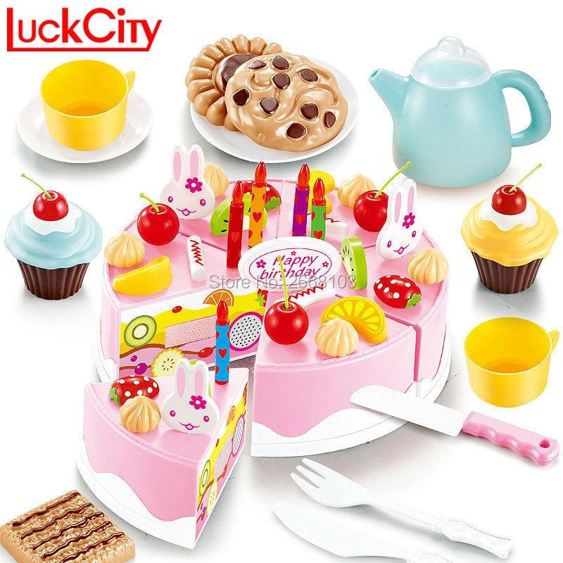 54 UNIDS Cocina De Corte De Plástico Juguetes de Pastel de Cumpleaños Pretende Jugar Juego de Juego de Comida Niños Té Regalo Para Bebé Clásico Educativo Temprano