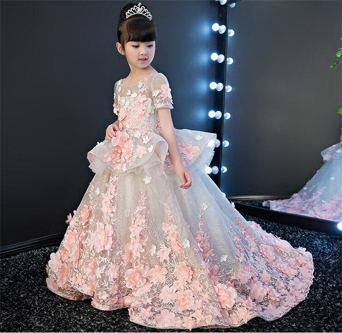 Flowers Girls Dress Ball Gown Party Dress for children Pink Lace 3D Flowers Long Pageant Gown Birthday Party Dress Any Size plus size butterfly print ball gown dress