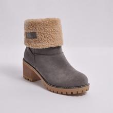 Зимние сапоги на высоком каблуке Женская модная водонепроницаемая обувь зимние теплые плюшевые ботинки до середины икры на меху г. нескользящие повседневные женские ботинки