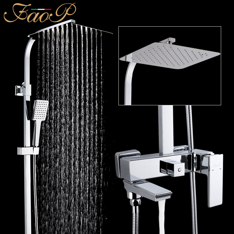 FAOP shower Faucet wall mounted bathroom rainfall shower mixer tap bathtub faucet tap mixer bath tap
