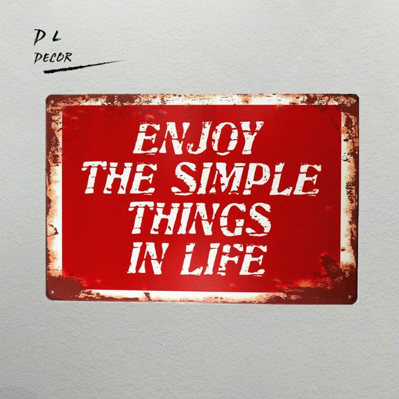 DL-shabby chic Rétro Enioy les choses simples de la Vie en métal mur art autocollant 8*12 pouces